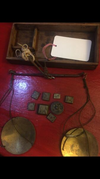 SCALES Antique Scales Travel Size W Bronze Weights Everything Original