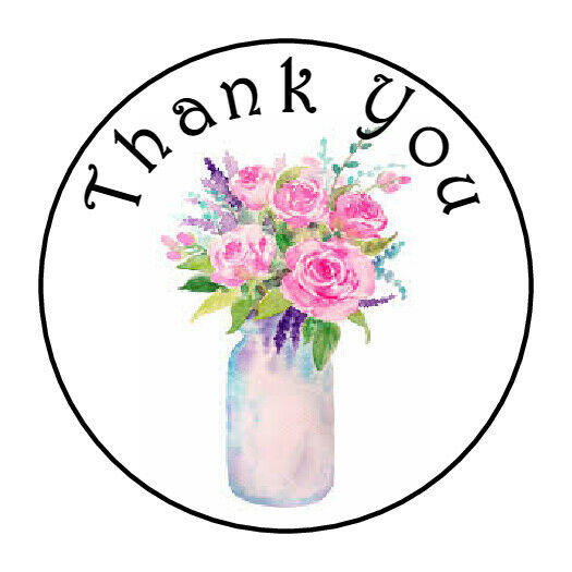 30 THANK YOU FLOWERS MASON JAR FAVOR 1.5 INCH LABELS ROUND STICKERS *