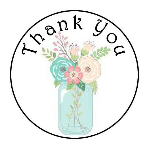 30 THANK YOU FLOWERS BLUE MASON JAR FAVOR 1.5 INCH LABELS ROUND STICKERS *