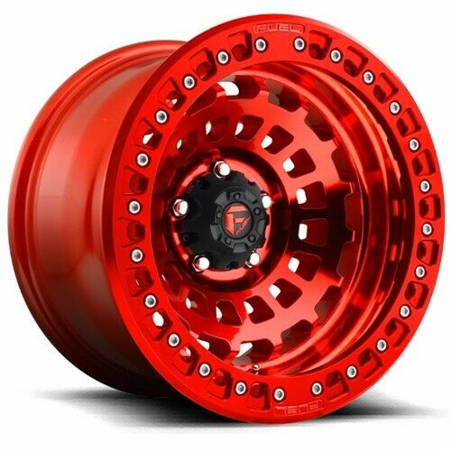 SET OF (4) FUEL WHEELS D100 ZEPHYR 17X9 6x139.7 -15 CANDY RED