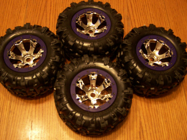 Traxxas 1 10 Summit Canyon AT Tires amp;17mm Purple Chrome Geode 3.8 Wheels 56076 4