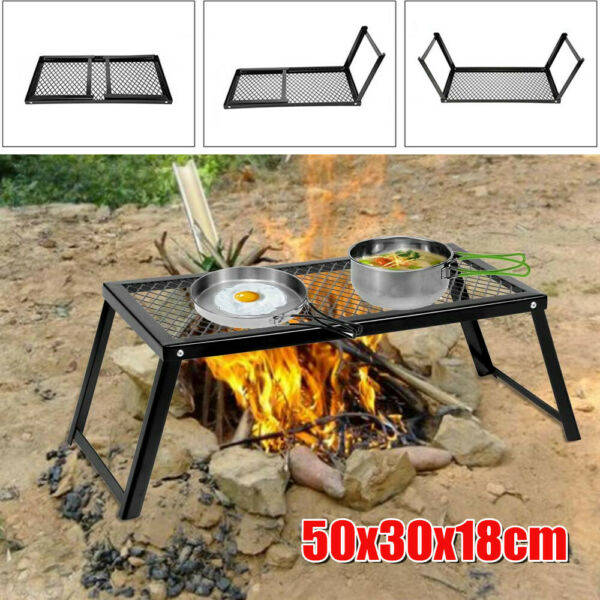 Camp Fire Grill Grate Cooking Outdoor BBQ Steel Pit Camping Open Fire Stove