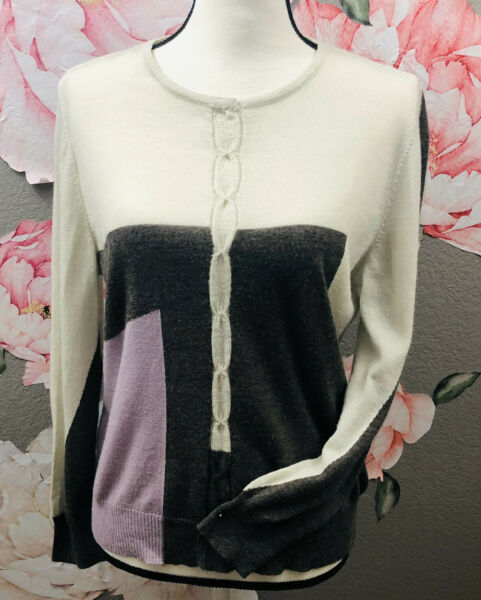 St. John 100% Wool Color Block Sweater Size Large Ivory Brown And Purple