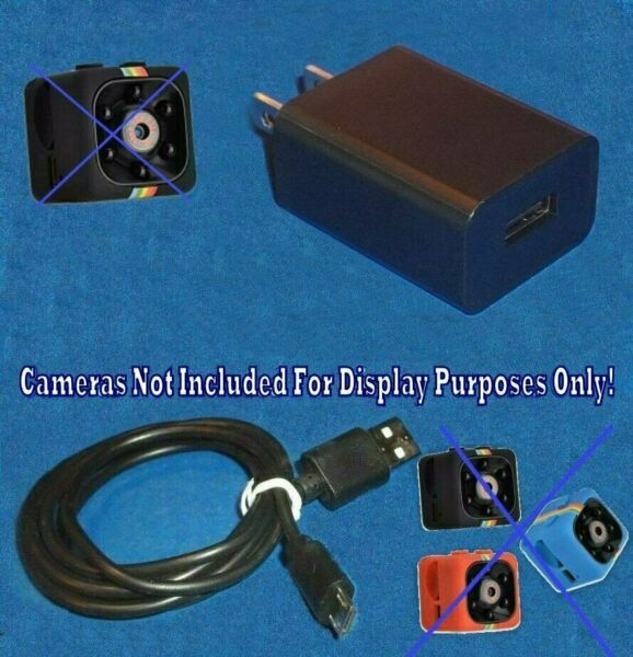 Cop Cam Ring Wall Video Camera BLK Power Supply US Charger + 3' Micro USB Cable