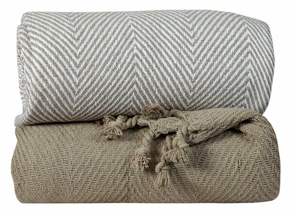 Hand Woven 100% Cotton Chevron Couch Sofa Throws 50x60 Inch Set of 2 Beige
