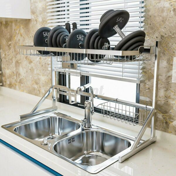2-Tier Dish Drying Rack Over Sink Stainless Steel Drainer Kitchen Storage