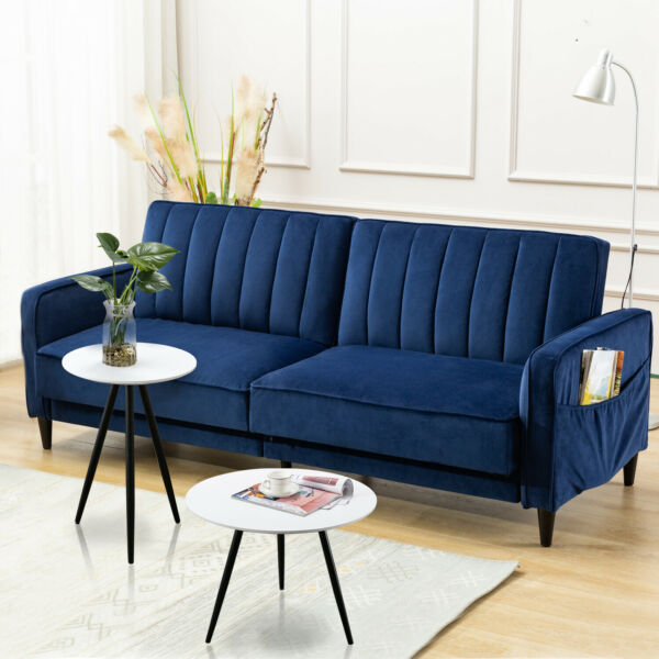 Modern Living Room Sofa Tufted Velvet Fabric Sofa Bed Leisure Recliner Chair New