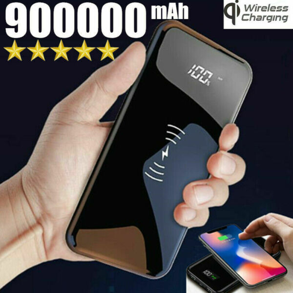 900000mAh Qi Wireless Power Bank Fast Charging Battery 2USB LED Portable Charger