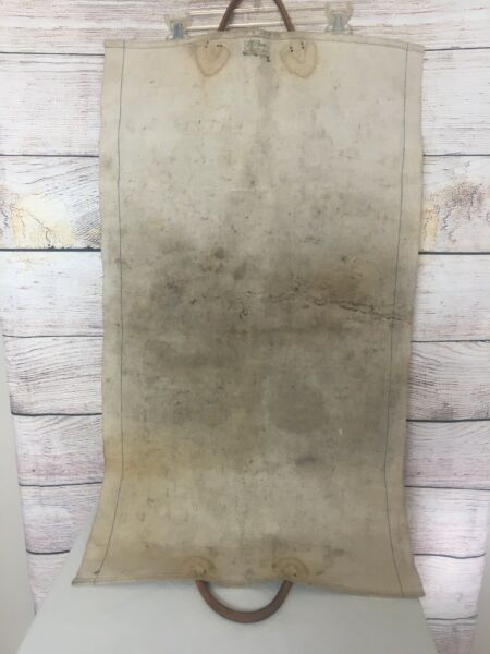 Vintage LL Bean Natural Canvas Log Firewood Wood Carrier Tote Leather Handles
