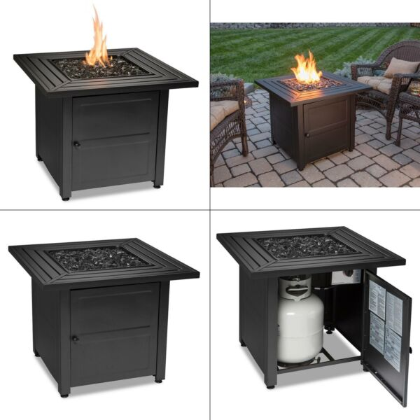 30 in. w black weather resistant steel lp gas outdoor fire pit with electro