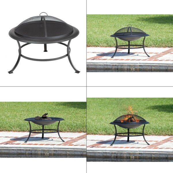 tokia 30 in. round steel fire pit in antique bronze  sense 62237 wood burning