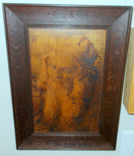 Antique after Albrecht DURER 1521 93 year Old Man Pyrography ART WOOD Carving