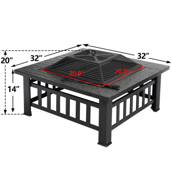 32quot; BBQ Metal Square Table Fire Pit Outdoor Backyard Patio W Spark Screen Cover