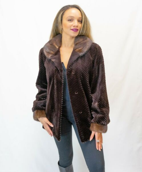 Sheared Brown Mink Coat Premium Label Sz M Glamour Moda de Italy