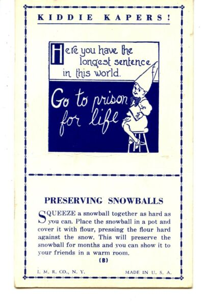 Kiddie Kapers-Magic-Preserving Snowballs Trick-Vintage Mutoscope Arcade Card