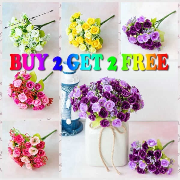 US 21 Head Artificial Flower Fake Rose Bouquet Wedding Party Home Decoration