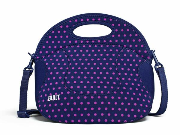 Built NY Spicy Relish Neoprene Insulated Lunch Bag With Strap - Mini Dot Navy