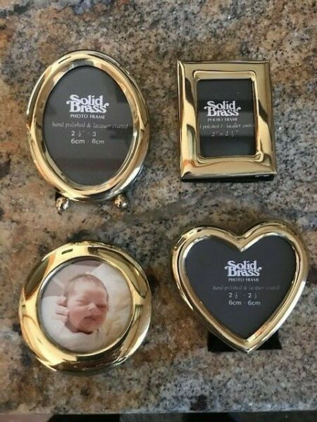 NEW SET OF 4 SMALL BRASS PHOTO FRAMES IN DIFFERENT SHAPES FREE SHIPPING