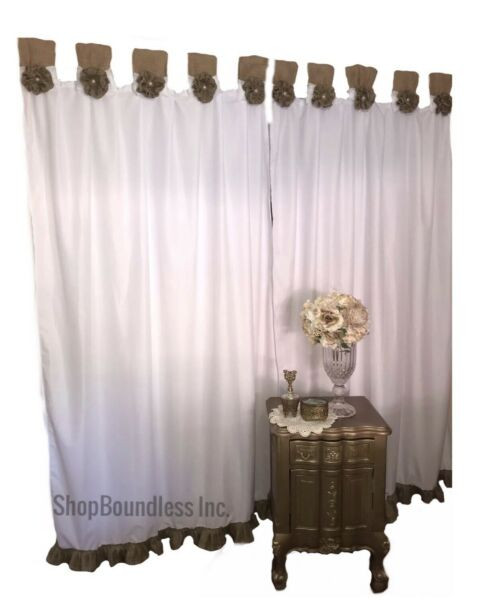 Burlap Curtain Panel Set  French Vtg White Shabby Rustic Chic Valance Country