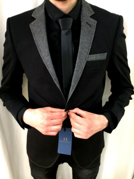 Ax Black Designer Jacket Blazer Jeans Collar Fitted Slim Fit Patches