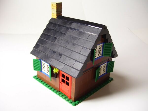 LEGO House w Light Brick Fireplace Furniture Bookcases Bed Cottage Hut Window