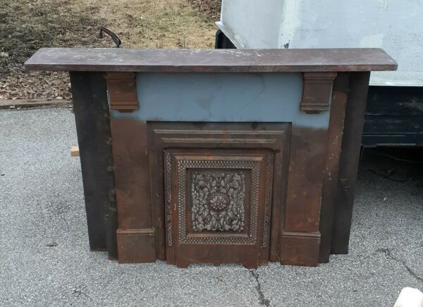 ANTIQUE CAST IRON FIREPLACE SURROUND W SUMMER COVER & LEGS & SLATE MANTLE
