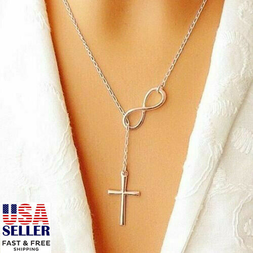 Infinity Simple Chain Cross Pendant Necklace Clavicle Choker Women Jewelry Gift