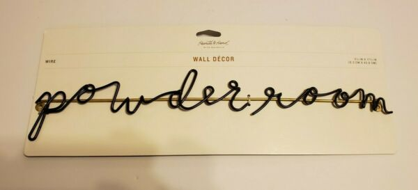 Powder Room Wire Sign Wall Decor Hearth & Hand Magnolia Hardware Included NEW