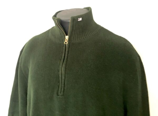 Polo Jeans Co XXL Green Half Zip Pullover Ribbed Sweater Flag Logo Mock Neck