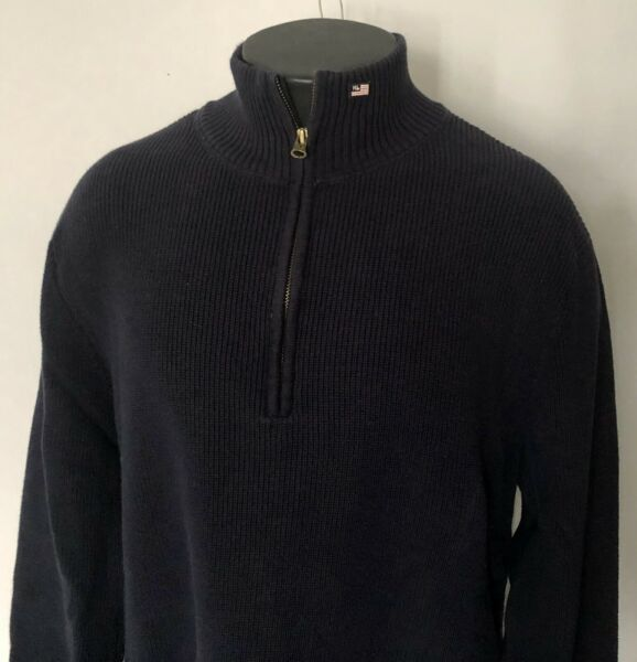 Polo Jeans Company XXL Blue Half Zip Pullover Ribbed Sweater Flag Logo Mock Neck