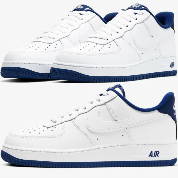 Nike Air Force 1 Low Sneakers Men's Lifestyle Comfy Shoes White/Deep Royal