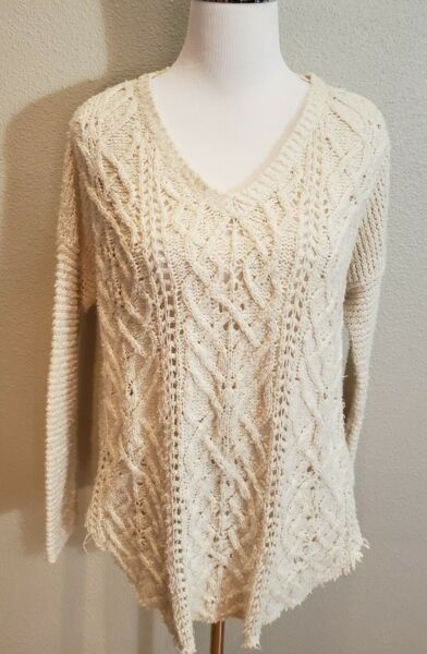 Free People Cross My Heart Cable Knit V Neck Raw Hem Fringe Sweater Ivory S