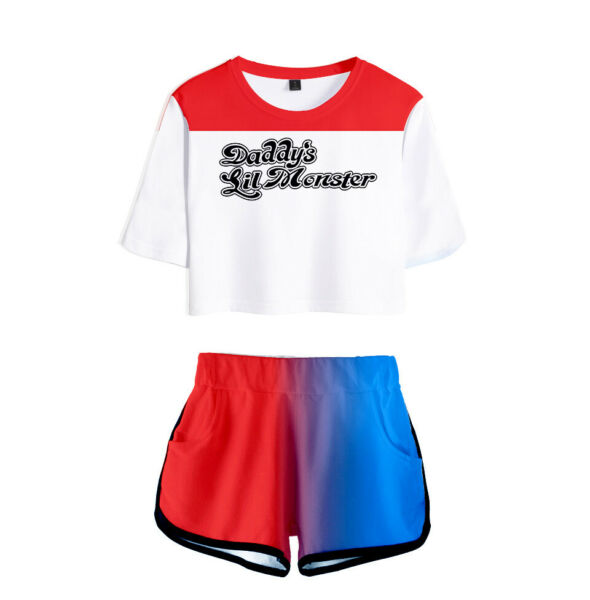 Movie Suicide Cosplay Costumes Short Sleeve Shirt Sport Suit Girls Tees Shorts $39.99