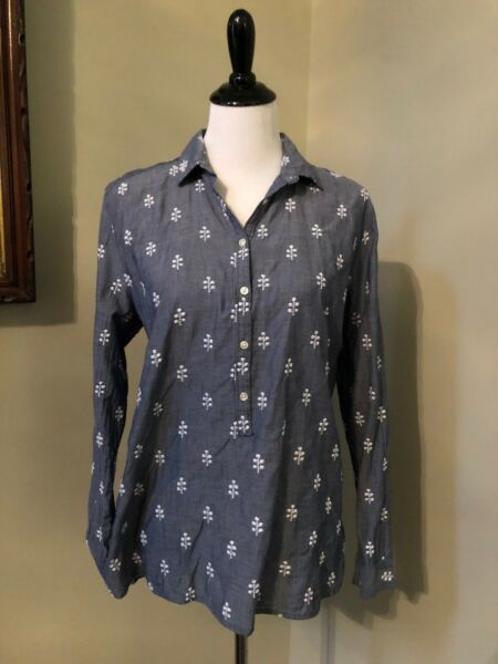 ANN TAYLOR LOFT Sz L The Softened Chambray Shirt Popover Blue White Embroidery