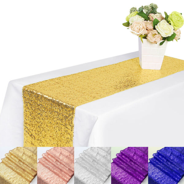 1 5 10Pc Sparkly Sequin Table Runners Wedding Party Banquet Decor 12x71quot; 12x108quot;