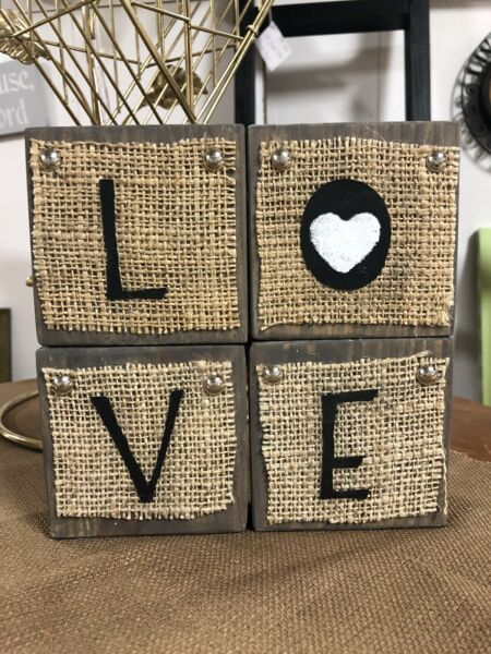 LOVE Wooden Block Set With Burlap Home And Living Decor
