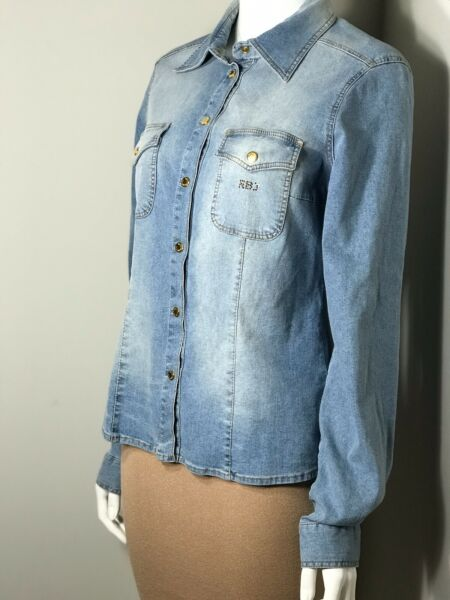 Roccobarocco Jeans WMS SZ 12 Front Pockets Collared Long Sleeve Denim Shirt New