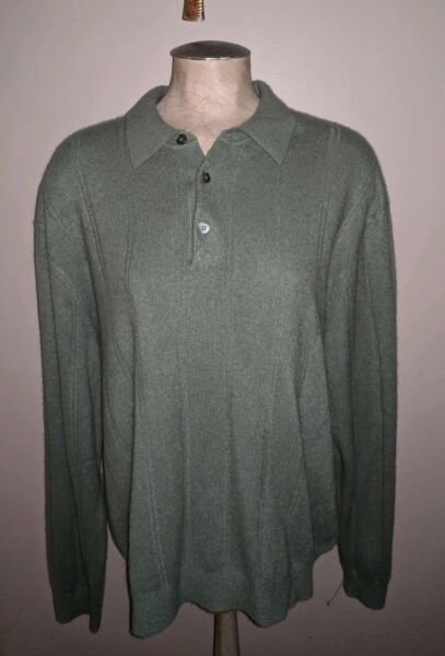AMAZING TASSO ELBA 100% FINE SOFT CASHMERE OLIVE GREEN BUTTON NECK SWEATER MENS
