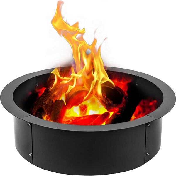 45quot; Round Steel Fire Pit Ring Liner DIY Wood Burning Insert Outdoor In Ground $129.98