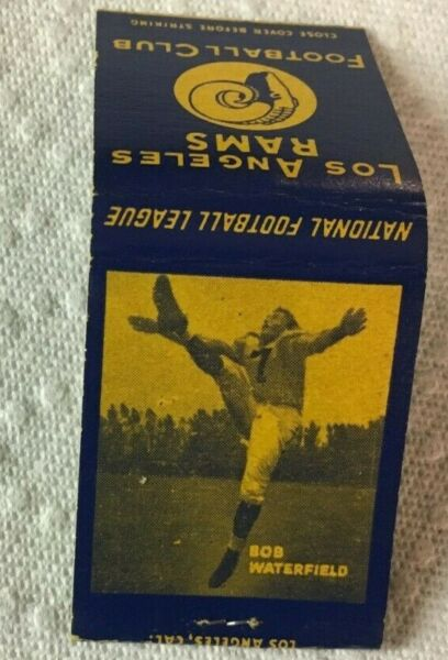 1940's Bob Waterfield Los Angeles Rams Football Full Matchbook HOF