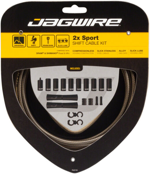 Jagwire 2x Sport Shift Cable Kit SRAM Shimano Carbon Silver $21.99
