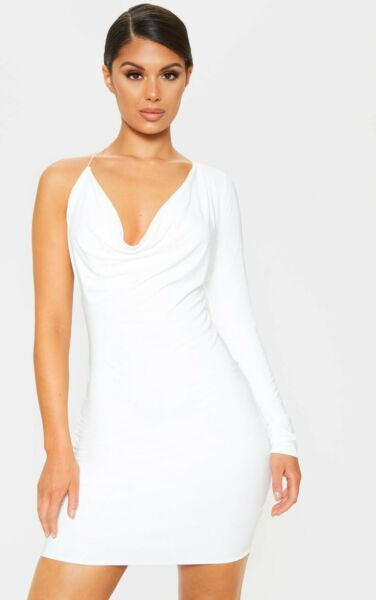 Prettylittlething ASOS NEW NWT White One Sleeve Sexy Dress Cowl Neck Small S