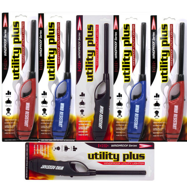 Elite Windproof Long Fire Lighters Pack of 6 Fireplace Barbeque Grill Jet Flame