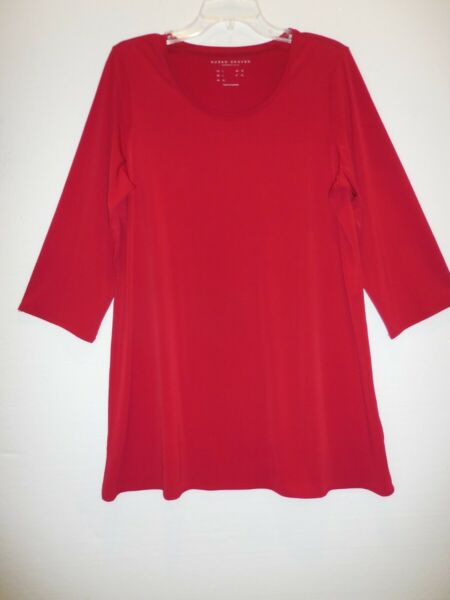 Susan Graver Red Jersey 34 Sleeve Tunic Top Size Large
