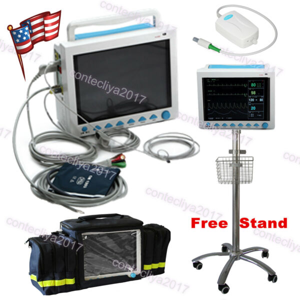 Patient monitor ICU CCU vital signs machine printer ETCO2 multi-parameter FDA CE