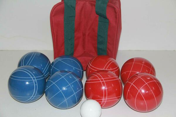 (19 of 22) Epco Premium Quality Bocce set -110mm Blue and Rustic Red Balls