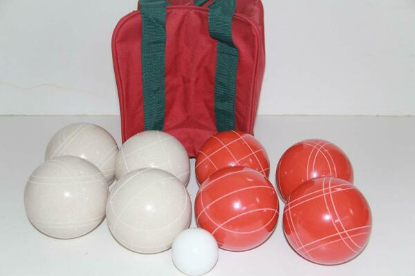 (20 of 22) Epco Premium Quality Bocce set -110mm White and Rustic Red Balls
