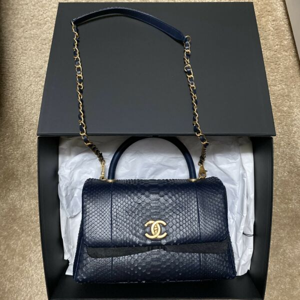 New With Receipt Chanel Navy Python Coco Handle Small Not Mini