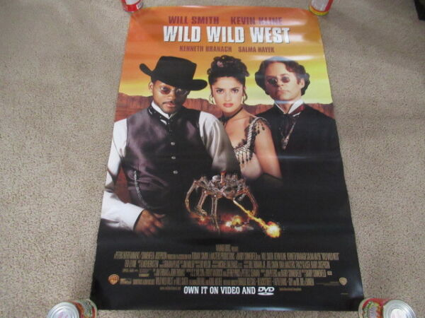 VINTAGE 90s Wild Wild West Promo Video Movie Poster Will Smith Salma Hayek 1999