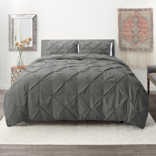 Pinch Pleated Duvet Cover Set Luxurious Premium Quality Cover for Comforter $32.99